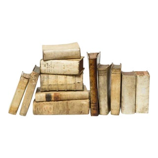 17th & 18th Century Vellum Books - Set of 12