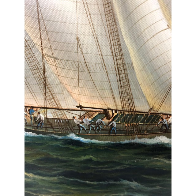 1990s Realist Painting of Sailing Vessels by Cooper For Sale - Image 5 of 13