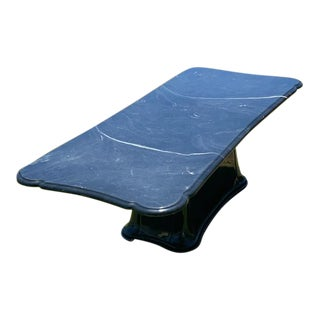 Art Deco Hollywood Regency Black Marble Elongated Coffee Table For Sale
