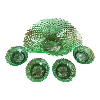 1950s Art Nouveau Depression Green Waffle Texture Serving Set - 5 Pieces For Sale