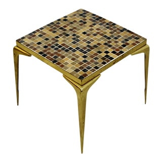 Mid-Century Modern Italian Style Murano Glass Tile Top Brass End Table C. 1960 For Sale
