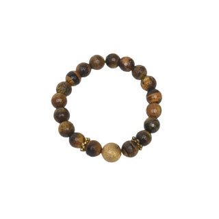 Faceted Tiger Eye With Gold Findings Stretch Custom Bracelet For Sale