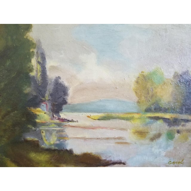 English Lake Side View Painting by Carol For Sale - Image 3 of 4