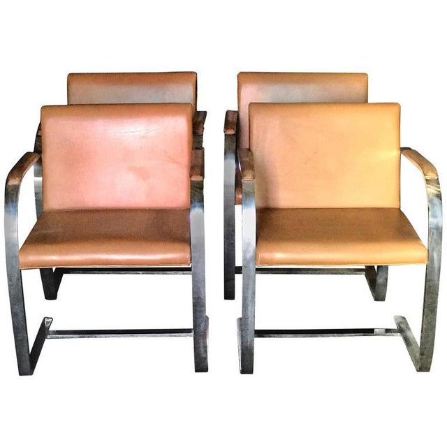 """Mies Van Der Rohe for Knoll Studio """"Brno Flat Bar"""" Lounge Armchair in Leather For Sale In Los Angeles - Image 6 of 6"""