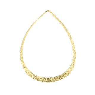 Textured Gold Plated Cleopatra Style Italian Sterling Silver Necklace For Sale