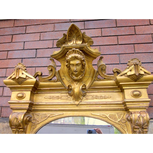 1820 Antique Renaissance Revival Gold Gilt Pier Mirror With Bust of Columbia For Sale In Chicago - Image 6 of 7