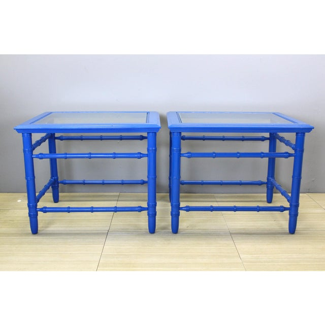 Wood Mid-Century Royal Blue Side Tables - A Pair For Sale - Image 7 of 10