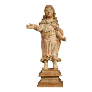 17th Century French Hand-Carved Polychromed and Painted Statue of Saint on Stand