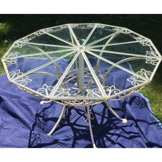 French Antique 19th Century Wrought Iron 12-Sided French Table For Sale - Image 3 of 10