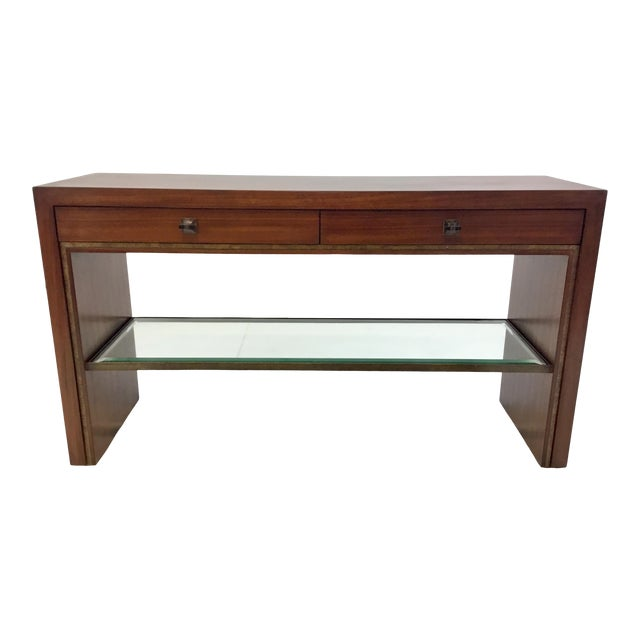 Henredon Modern Mahogany Finished Wood Venue Console Table For Sale