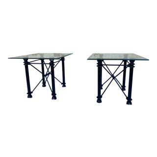 1980s Mid-Century Modern Wrought Iron Rectangular Base Beveled Glass Top Side Tables - a Pair For Sale