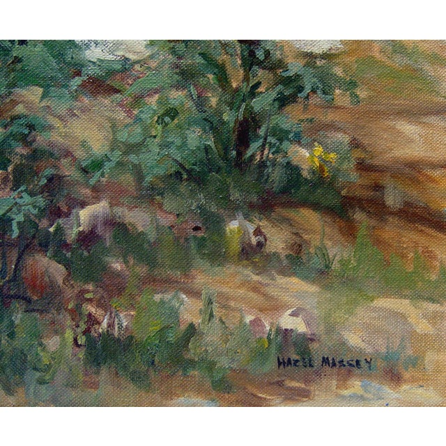 Landscape with wild flowers oil on canvas board by Hazel Massey (1907-1990). Signed lower right corner. Unframed,.