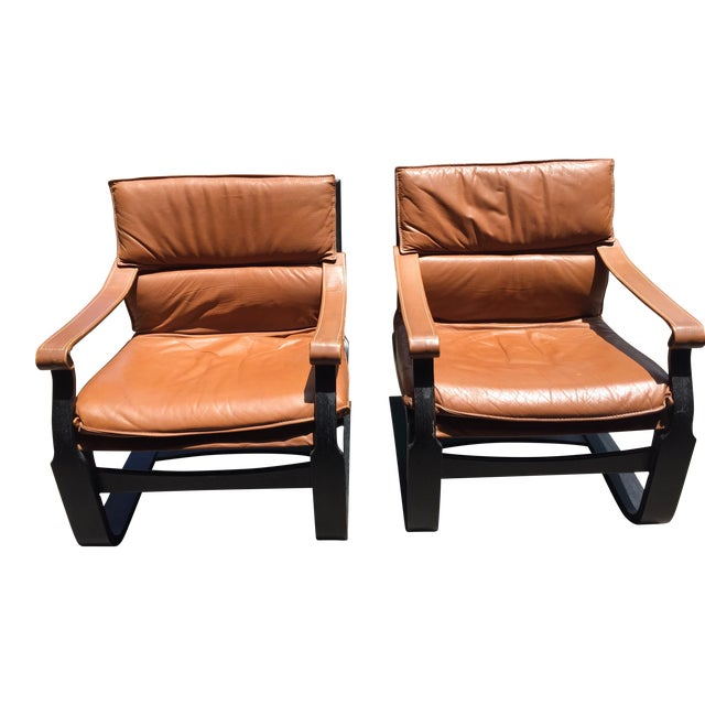 Nelo Sweden Leather Armchairs - A Pair For Sale
