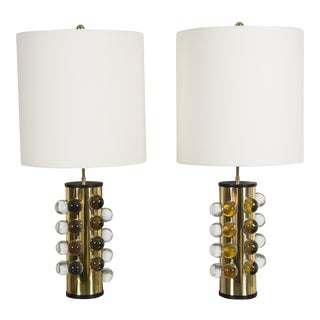 Pair of Cylindrical Brass Lamps by Fedele Papagni For Sale