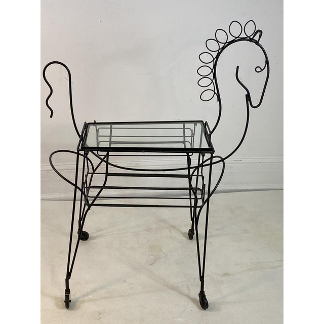 Whimsical Mid Century Black Horse Outline Bar Cart Designed By Frederick Weinberg in The 1950's.Glass topped Center Table...