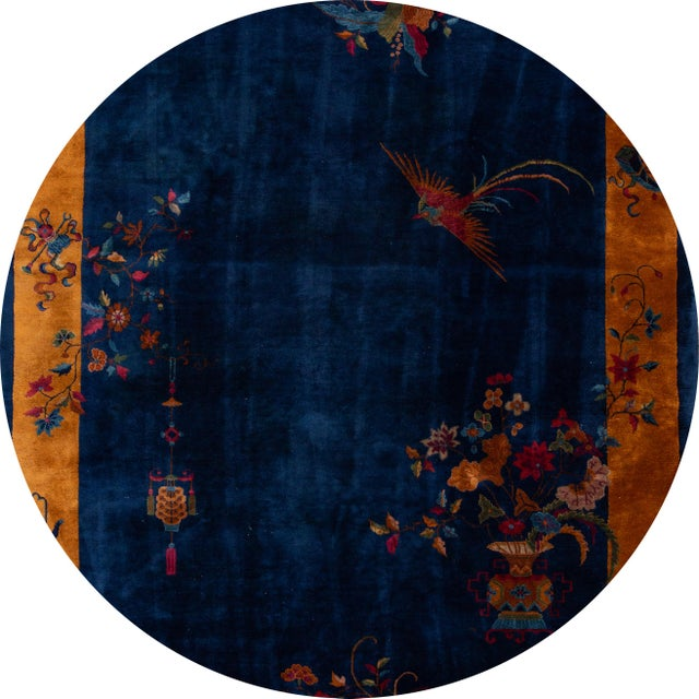 Beautiful antique Chinese Art Deco rug, hand-knotted wool with a blue field, gold frame in a subtle all-over Classic...