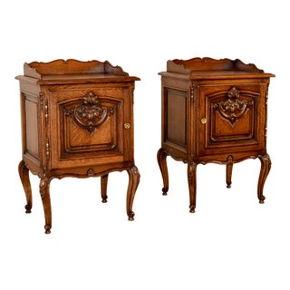 Pair of French Oak Bedsides, Circa 1900 For Sale