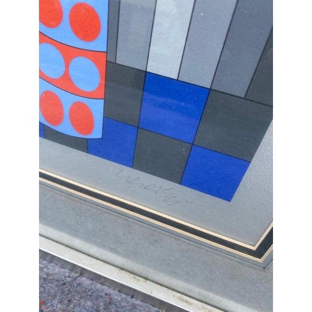 """1980s 1980s """"Fille Fleur"""" Op Art Signed Serigraph by Victor Vasarely, Framed For Sale - Image 5 of 6"""