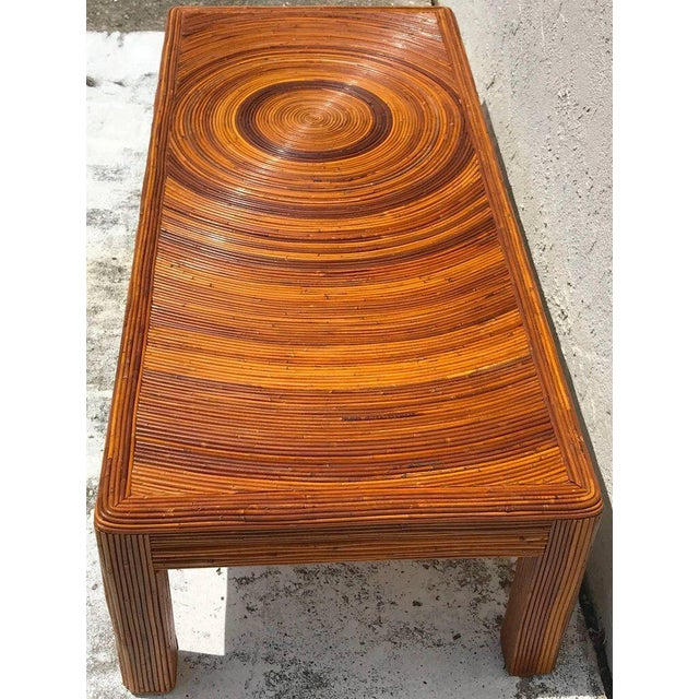 Crespi Style Split Bamboo Long Coffee Table For Sale In West Palm - Image 6 of 11