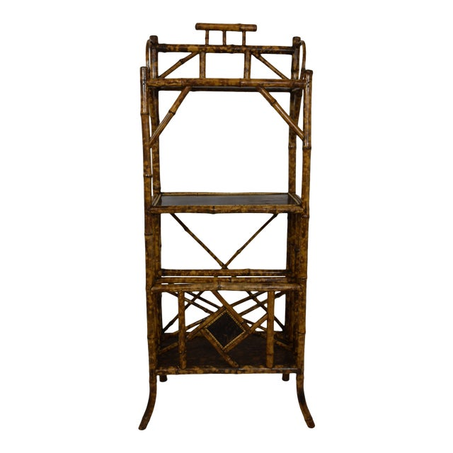 19th-Century Bamboo Book Shelf and Magazine Rack For Sale