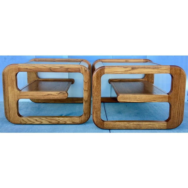 Geometric Oak & Glass Side Tables - Image 8 of 8