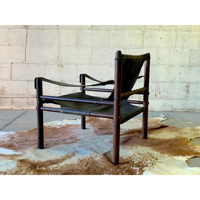 Danish Modern Authentic + Rare Mid Century Modern Leather Safari Chair by Arne Norell, Made in Sweden For Sale - Image 3 of 11