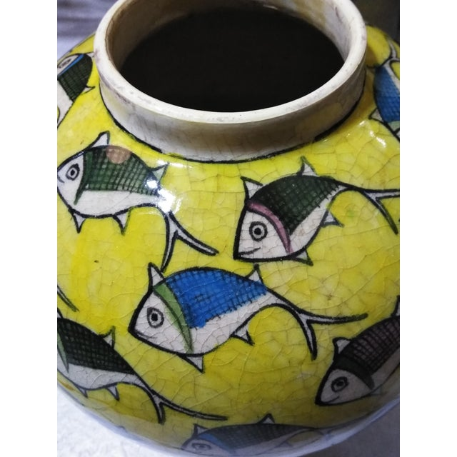 1960s 1960s Contemporary Persian Large Yellow Ceramic Fish Vase For Sale - Image 5 of 13
