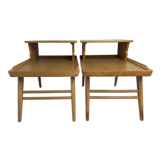 Midcentury Blonde Mahogany a Pair of Step End Tables For Sale