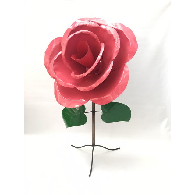 Monumental 5' x 3' Metal Rose Sculpture - Image 2 of 6