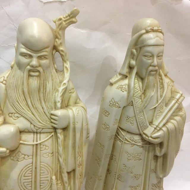 Vintage Chinese Old Scholars Figures - a Pair For Sale - Image 4 of 13