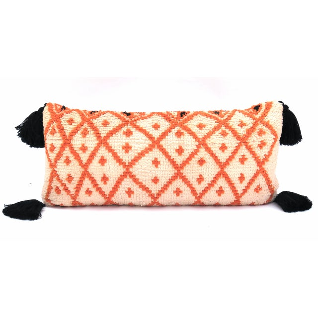 Vintage Morrocan Saffron & Pink Bolster Pillow For Sale In Los Angeles - Image 6 of 6