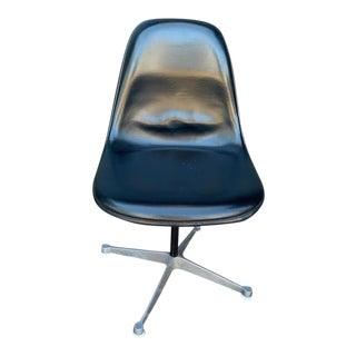 Retro Herman Miller Eames Leather Swivel Desk Chair For Sale