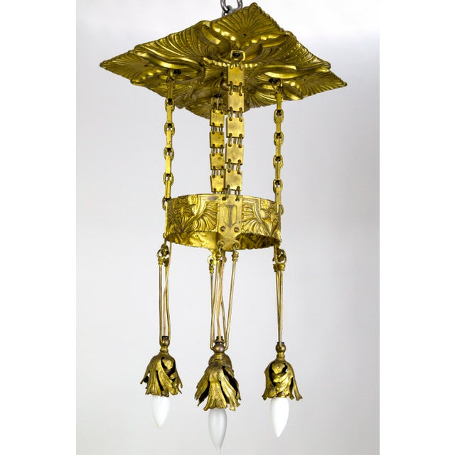 Vienna Secession Nouveau Brass Chandelier W/ Square Chain & Foliage For Sale - Image 13 of 13