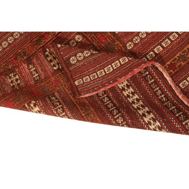 Late 19th Century Antique Geometric Red and Brown Wool Kilim Rug For Sale - Image 5 of 6