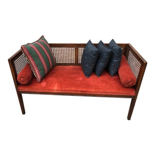 Mid Century Modern Cane-Back Side Settee For Sale