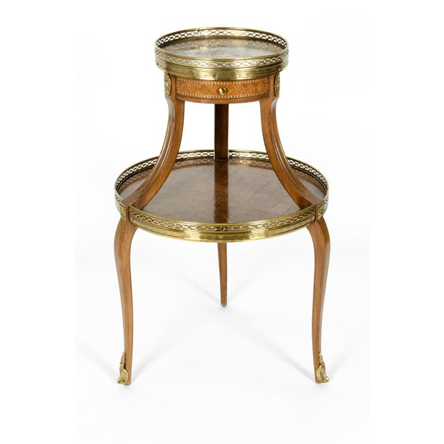Louis XVI Two-Tier Marble Top Marquetry Side or End Table For Sale - Image 11 of 13