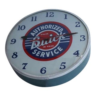 Rare 1940's Glass Face Advertising Shop Wall Light Up Clock For Buick