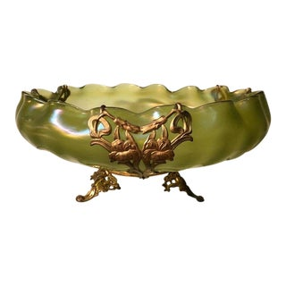 Antique Loetz Art Glass Centerpiece Bowl W Art Nouveau Gilt Bronze For Sale