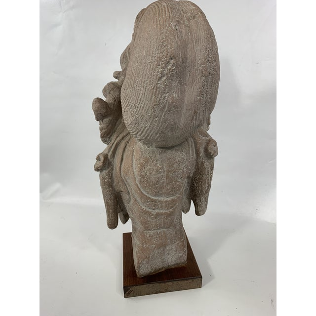 1960s Vintage Austin Productions Guan Yin Buddha Goddess Stone Bust For Sale - Image 10 of 13