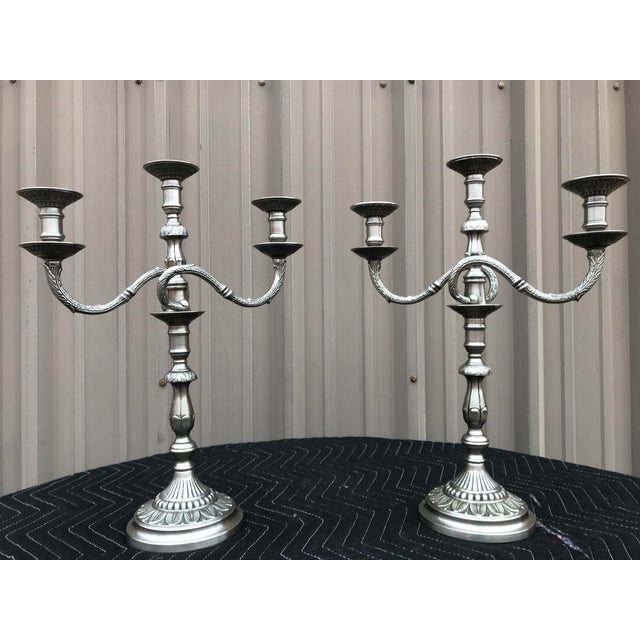 Metal English Style 3-Arm Candelabrums - a Pair For Sale - Image 7 of 7