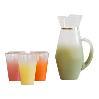 Sherbert Frosted Glasses & Pitcher - Set of 6 For Sale