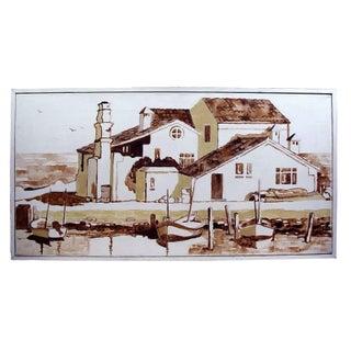 Mid Century Sepia Toned Mediterranean Harbor Oil Painting For Sale