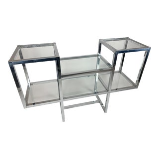 Milo Baughman Style Chrome and Glass Console Etagere Bar For Sale