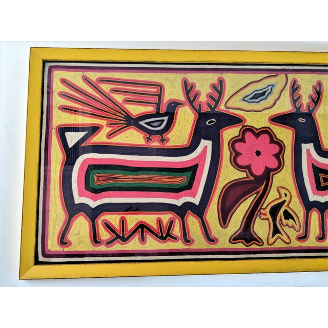 Large Framed Mola Hand Made Textile Animal Motif Wall Art For Sale - Image 4 of 13
