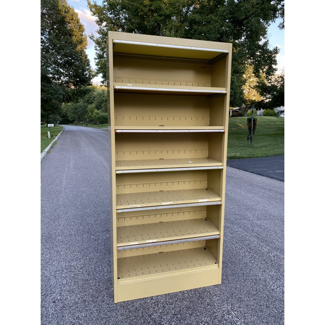 Vintage Mid Century Orange and Yellow Steel Tab Office Cabinets For Sale - Image 10 of 13