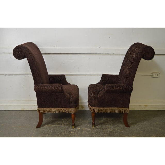 Traditional Drexel Pair of High Back Upholstered Host Arm Chairs (B) For Sale - Image 3 of 11