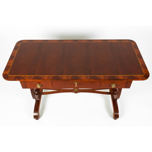 Vintage Mahogany Burlwood Writing Desk or Console Table For Sale - Image 4 of 13