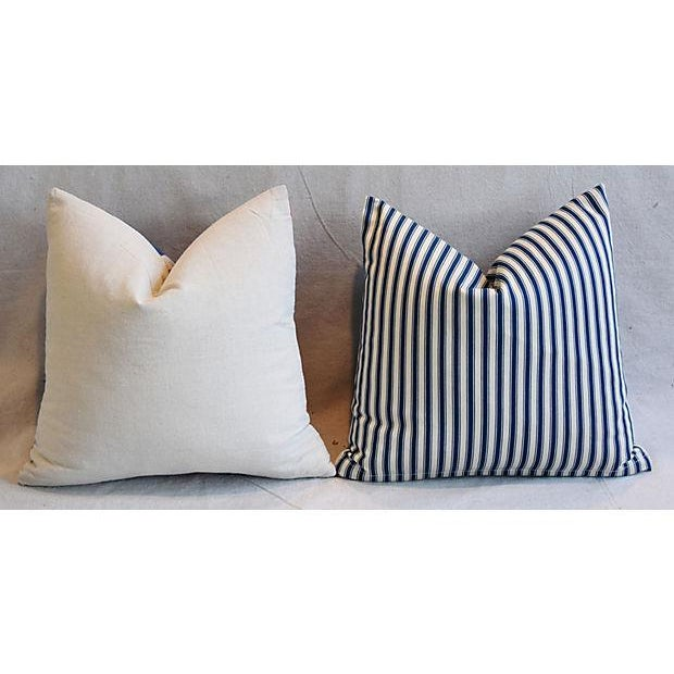 """17"""" Custom Tailored French Ticking & Union Jack Feather/Down Pillows - Set of 2 - Image 6 of 11"""
