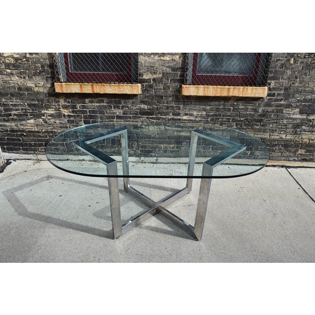 Transparent Vintage Chrome Dining Table With Glass Top For Sale - Image 8 of 8