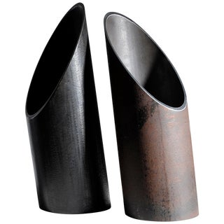 Pair of Steel Sculpted Vases, Signed by Lukas Friedrich For Sale